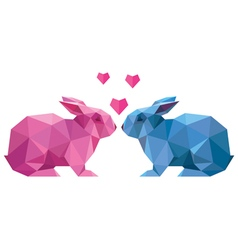 couple of lovers rabbit style low poly vector image