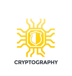 Cryptography icon on white vector