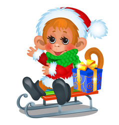 cute monkey dressed as santa claus riding on a vector image