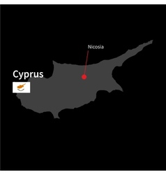 Detailed map of Cyprus and capital city Nicosia vector