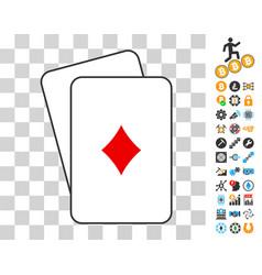 Diamonds suit cards with bonus vector