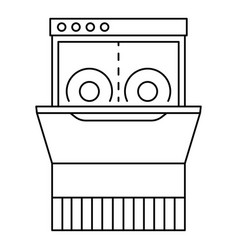 Dishwasher machine icon outline style vector