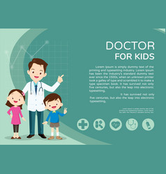 doctor and kids background poster vector image