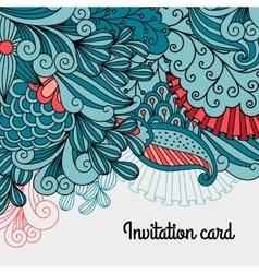 Doodle floral card design vector