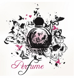 Elegant perfume bottle fashion poster vector