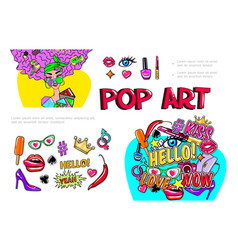 fashion girl stickers composition vector image