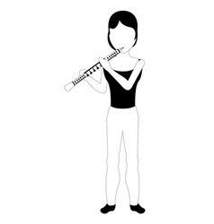 female avatar playing a flute vector image
