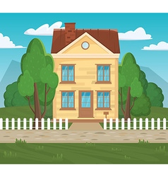 Flat home architectural Stylish european design vector