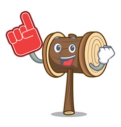 Foam finger mallet mascot cartoon style vector
