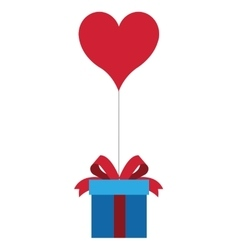 gift box with bow and hear shape balloon icon vector image