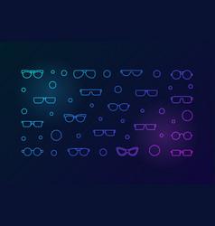 Glasses bright horizontal outline vector