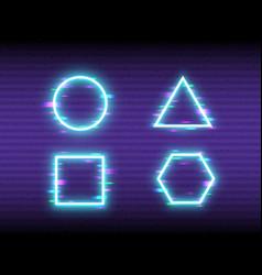 glitch neon set on retro background frame design vector image