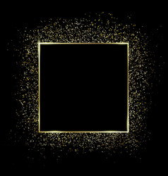 Gold square frame and glitter glowing particles vector