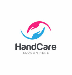 Hand care logo design template vector