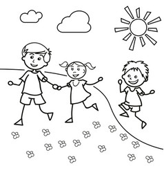 hand drawn children walk on lawn in summer vector image