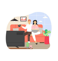 happy couple spending free time at home man and vector image