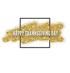 Happy thanksgiving day greeting card with gold vector