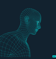 head person from a 3d grid face design vector image
