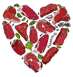 heart of meat steaks vector image