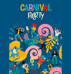 hello carnival poster with funny dancing vector image
