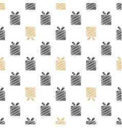 Holiday background seamless pattern with present vector