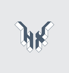 Hx - logo or 2-letter code isometric 3d font for vector