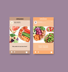 Instagram template with healthy and organic food vector
