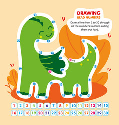 kid math game read number in order funny dragon vector image