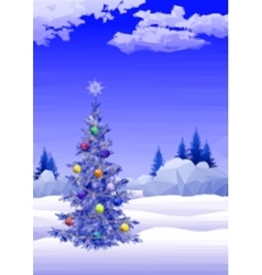 Landscape with Christmas tree vector image