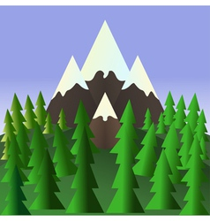 Landscape with pine trees and mountains Stock vector