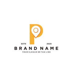 Letter p map pin logo design vector