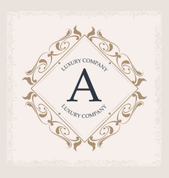 luxury company a monogram crest frame ornament vector image