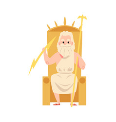 man or zeus greek god sits on throne holding staff vector image