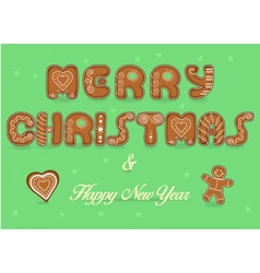 Merry Christmas Happy New Year Gingerbread font vector