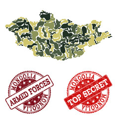 Military camouflage composition of map of mongolia vector