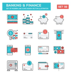 Modern Flat Line icon Concept of Banking Finance vector image