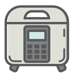 Multicooker colorful line icon kitchen appliance vector
