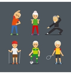 Old people sport lifestyle icons vector