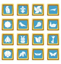 Origami icons set sapphirine square vector