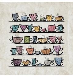 Ornate mugs on shelves grunge background vector image