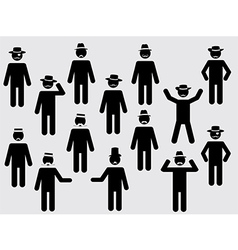 People pictograms with hats and mustache vector image vector image