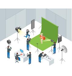 Photo studio interior with operators shooting vector