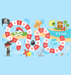 pirate board game template vector image