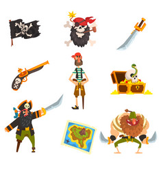 Pirates set pirate adventures accessories black vector