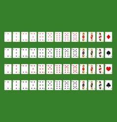 poker playing cards full deck on a green vector image