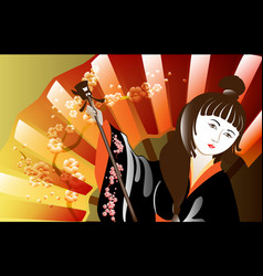portrait of a woman in a kimono against the vector image