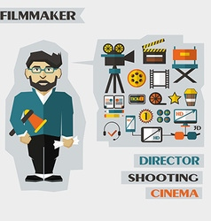 Profession of people Flat infographic Filmmaker vector
