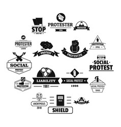 Protest logo icons set simple style vector