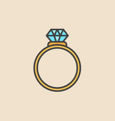 ring with diamond colored icon engagement vector image