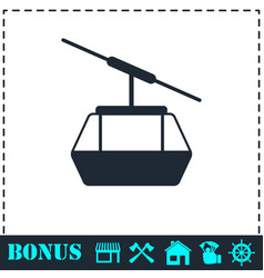 ropeway cabines icon flat vector image